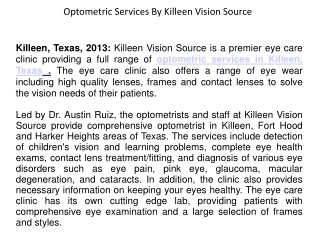 Optometric Services By Killeen Vision Source