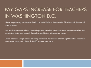 Pay Gaps Increase For Teachers In Washington D.C.