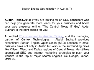Search Engine Optimization in Austin, Tx