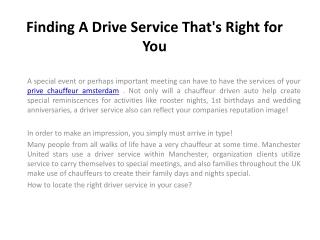 Chauffeurs Diensten