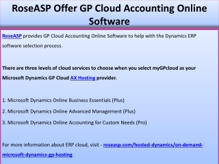 RoseASP Offer GP Cloud Accounting Online Software