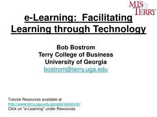 E-Learning:  Facilitating Learning through Technology