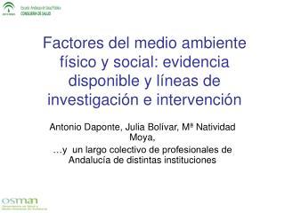 Factores del medio ambiente f sico y social: evidencia disponible y l neas de investigaci n e intervenci n
