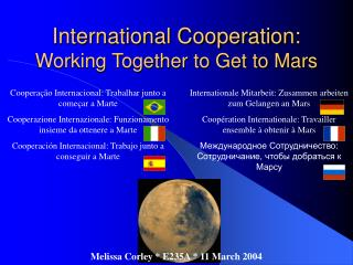 International Cooperation: Working Together to Get to Mars