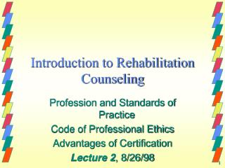 Introduction to Rehabilitation Counseling