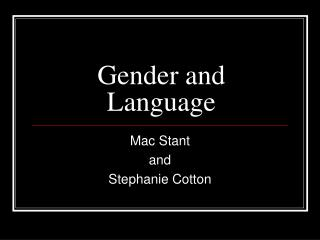 Gender and Language