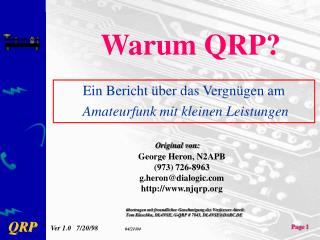 Warum QRP