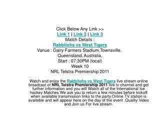 watch rabbitohs vs west tigers telstra premiership 2011 live