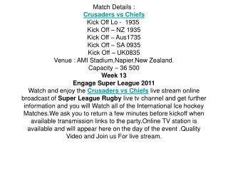 watch superxv chiefs vs crusaders live online free streaming