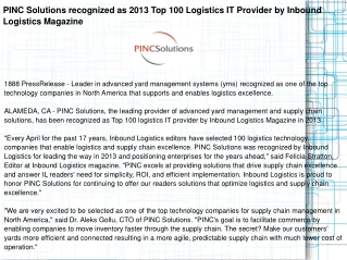 PINC Solutions recognized as 2013 Top 100 Logistics IT Provi