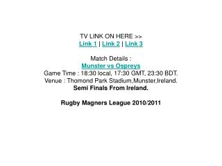 munster vs ospreys semi finals rugby magners league live fre