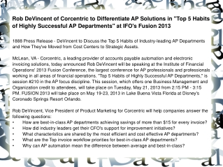 Rob DeVincent of Corcentric to Differentiate AP Solutions