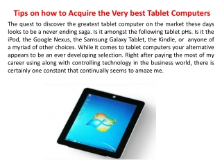 Tips on how to Acquire the Very best Tablet Computers