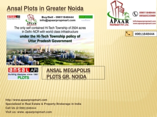 Ansal Megapolis Plots Resale Project $$ 09811848444