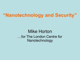 Nanotechnology and Security