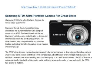 samsung st30, ultra-portable camera for great shots