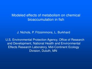 Modeled effects of metabolism on chemical bioaccumulation in fish