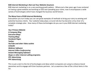 b2b internet marketing is not just your website anymore