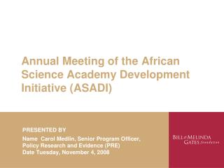 Annual Meeting of the African Science Academy Development ...