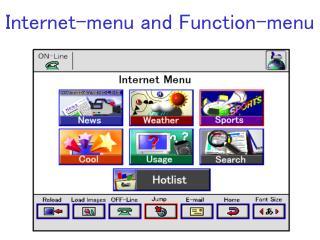Internet-menu and Function-menu