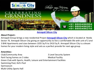 Amrapali Silicon City Flats Booking Call@8800496504