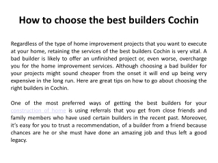 How To Choose The Best Builders Cochin
