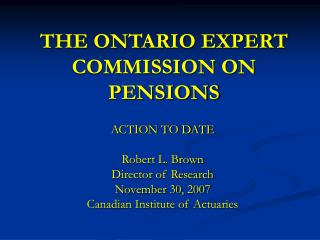 THE ONTARIO EXPERT COMMISSION ON PENSIONS