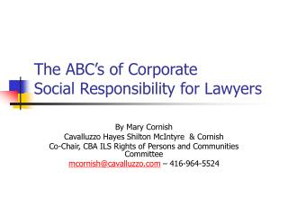 The ABC s of Corporate  Social Responsibility for Lawyers