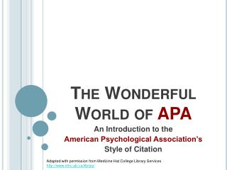 The Wonderful World of APA