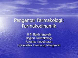 Pengantar Farmakologi: Farmakodinamik