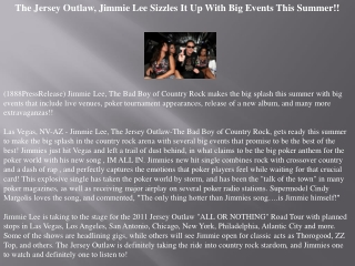 the jersey outlaw, jimmie lee sizzles it up with big events
