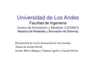 Universidad de Los Andes Facultad de Ingenier a Centro de Simulaci n y Modelos CESIMO Maestr a de Modelado y Simulaci n