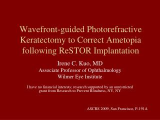 Wavefront-guided Photorefractive Keratectomy to Correct Ametopia ...