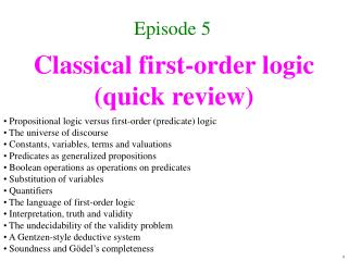 Classical first-order logic quick review
