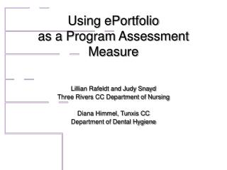 Using ePortfolio  as a Program Assessment Measure