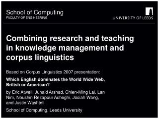 Combining research and teaching in knowledge management and corpus ...