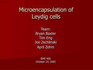 Microencapsulation of Leydig cells