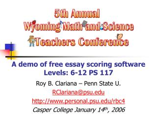 A demo of free essay scoring software Levels: 6-12 PS 117