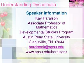 Understanding Dyscalculia