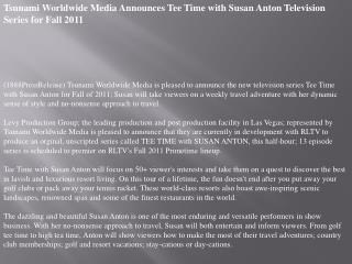 tsunami worldwide media announces tee time with susan anton