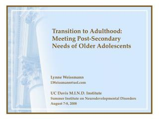 Transition to Adulthood: Meeting Post-Secondary Needs of Older ...