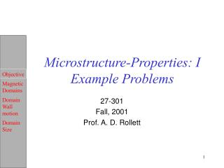 Microstructure-Properties: I Example Problems