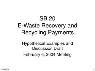 SB 20 E-Waste Recovery and Recycling Payments