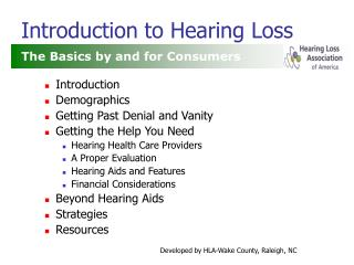 Introduction to Hearing Loss