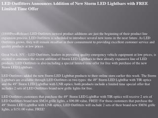 led outfitters announces addition of new storm led lightbars