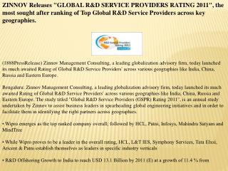 "zinnov releases ""global r&d service providers rating 2011"","
