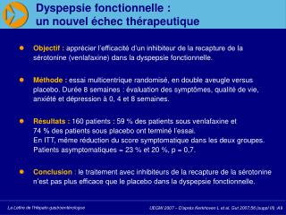 Dyspepsie fonctionnelle :  un nouvel  chec th rapeutique