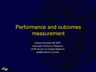Performance and outcomes measurement