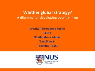 Whither global strategy A dilemma for developing country firms