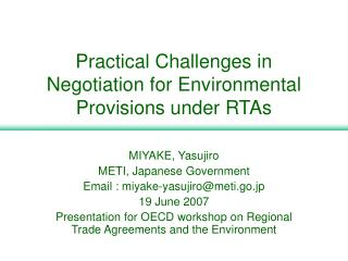 Practical Challenges in Negotiation for Environmental Provisions ...
